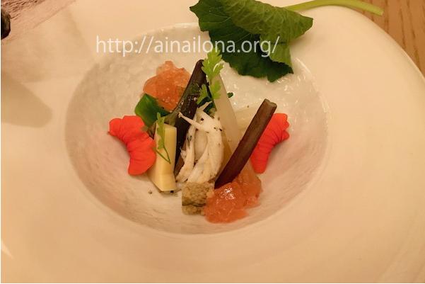 先附・春野菜と白魚の梅ゼリー掛け