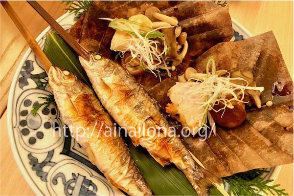 焼き魚と朴葉味噌